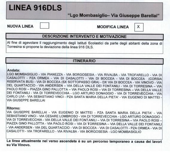 Atac, servizio scolastico, arriva il 916DLS a Torresina