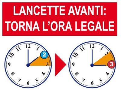Domenica 25 marzo torna l'ora legale