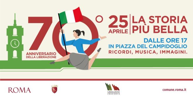 25 aprile, per i 70 anni della Liberazione, festa in piazza del Campidoglio