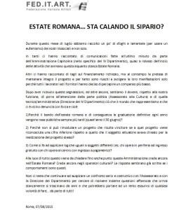 Comunicato FED.IT.ART sull'Estate Romana 2015