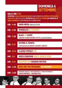 Programmazione DOMENICA 6 SETTEMBRE 2015