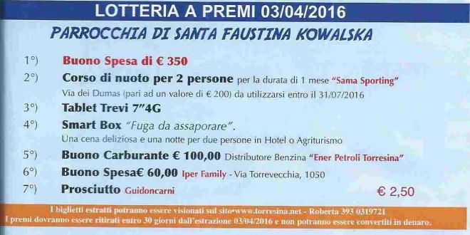 Lotteria di S.Faustina Estrazione del 03.04.2016