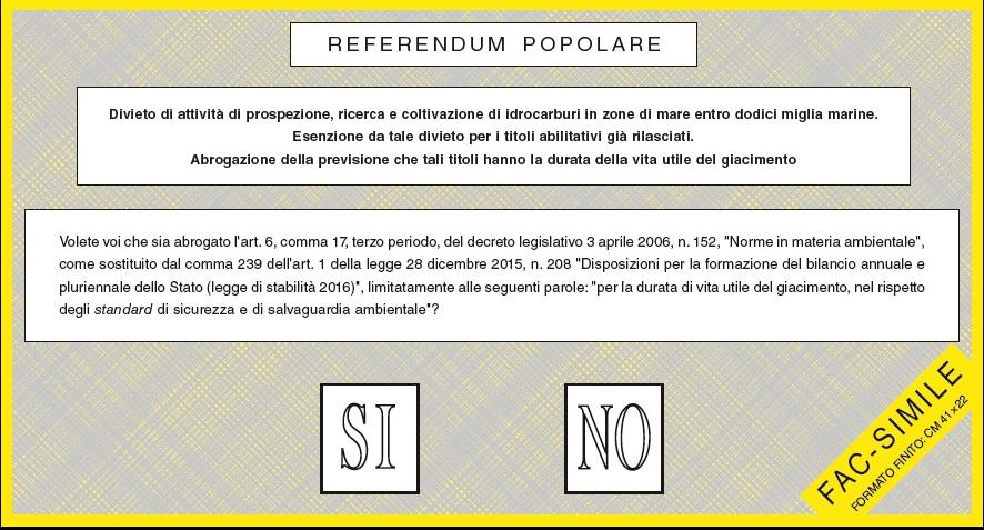 Scheda Elettorale referendum 17 aprile 2016