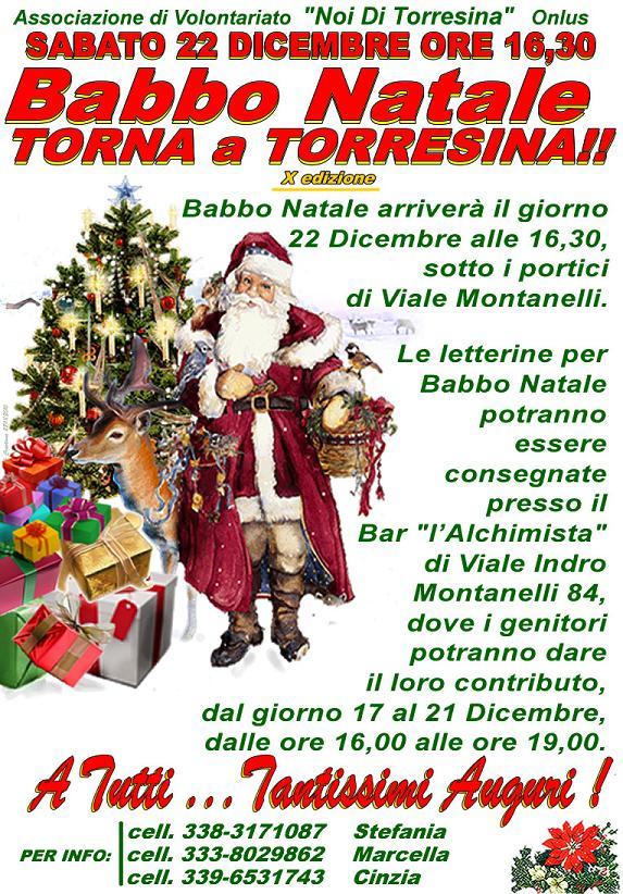 Sabato 22 dicembre Babbo Natale torna a Torresina